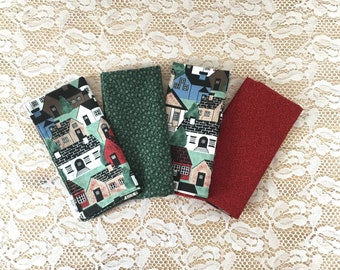 House, Cloth Napkins, Set of 4, Large, Reusable, Reversible, Housewarming, Cotton, Gree n & Red, Eco-Friendly