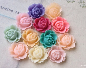 10 Pieces (5 Pairs) of 19 x 16 mm Peony Resin Flowers of Assorted Colors (.nm)