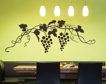 Grapes Vine Swirls Wall Quote Decal - Kitchen Decals - Restaurant Decoration - Vinyl Wall Decal  - KQ27