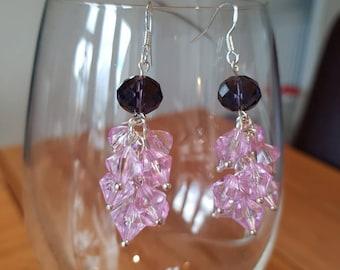 Purple cluster drop earrings