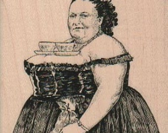 Tea Cup Fat Lady  rubber stamp number 18499 unmounted, cling stamp, wood mounted stamp scrapbooking