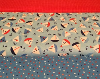 Northcott  Fabric, First Mate series sailboat sold by the  half yard