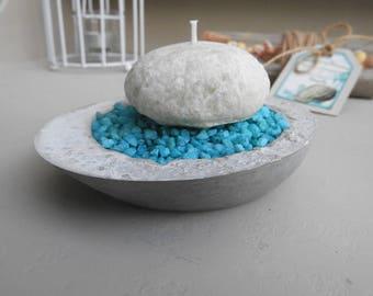 Concrete with pebbles candle candleholder * sea shore - zen - high concrete candle holder - new deco zen bathroom