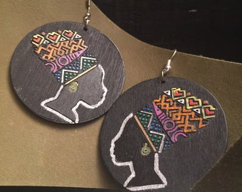 Wooden Nubian Princess  Hand painted Earrings