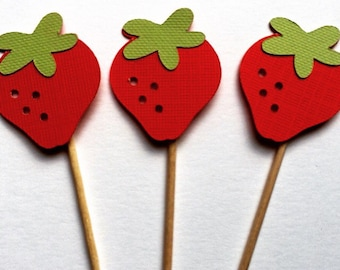 15 Strawberry Mini Cupcake Toppers