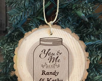 Personalized Wood Wedding/Engagement/Anniversary Ornament with two names