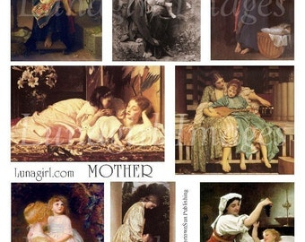 MOTHER digital collage sheet, Victorian ART, vintage Mother's Day cards, Renaissance women children girls babies paintings ephemera DOWNLOAD