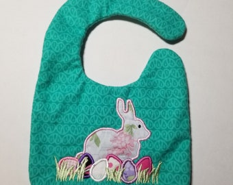 Floral Easter bunny with eggs baby bib