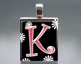 Alphabet K-T Scrabble Tile Pendants with Silver Ball Chain
