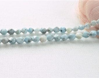pearl aquamarine, 6mm aquamarine pearl, pearl natural stone, pearl facet stone, undyed pearl pearl polygon,