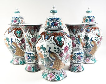 Polychrome Delft garniture set by Societe Ceramique Maestricht, Pattern Vieux Delft, vase ginger jar, Made in Holland, Transferprint