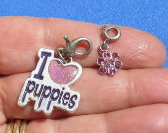 Lot Of Retro Zipper Charms Pink Flower I Love Puppies