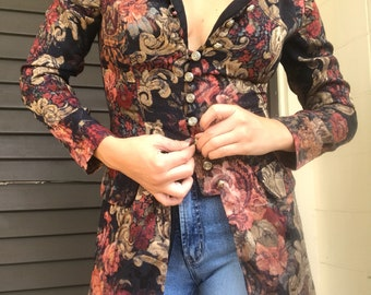 Fall Paisley Patterned Long Sleeve, Front Button Vintage Blouse