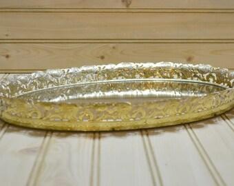 Vintage Mirror Vanity Tray Ornate Gold Tone Filigree Display Oval Perfume Bathroom Bedroom Dresser Jewelry Mirrored Vanity TV Movie Prop