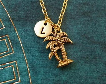 Palm Tree Necklace SMALL Palm Tree Charm Necklace Beach Jewelry Tropical Jewelry Pendant Necklace Personalized Necklace Initial Necklace