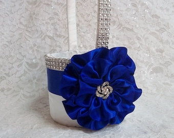 White Flower Girl Basket with Royal Blue, Cobalt Blue Flower and Rhinestone Mesh handle and Trim, Custom Made to Order
