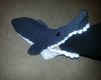 Crocheted infant shark slippers/booties
