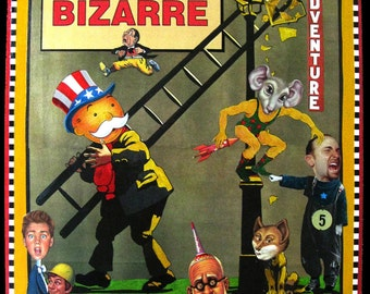 Simply Bizarre Collage, Altered Art,  Go Mental, Assemblage with various print and game pieces