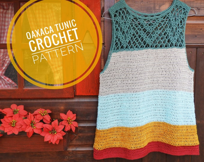 Featured listing image: Oaxaca Tunic Crochet Pattern