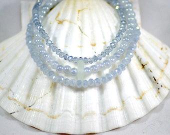 Real sea glass bracelet / silver stack bracelet / grey stack bracelet / authentic sea glass jewelry / stackable bracelet / stretch bracelet