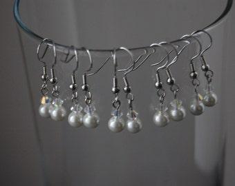 Bridesmaid Pearl Earrings Set of 5