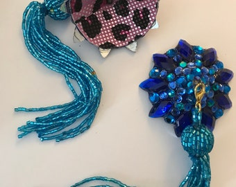 Blue pasties  with blue beaded tassel