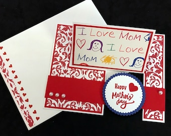 "Mother's Day ""Impossible"" Card - Love Mom Impossible, Red Filigree, Blue"