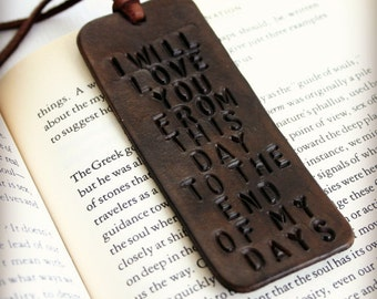 Custom quote leather bookmark. Personalized bookmark.  Bible Bookmark. 3rd Anniversary for husband wife. I will love you from this day
