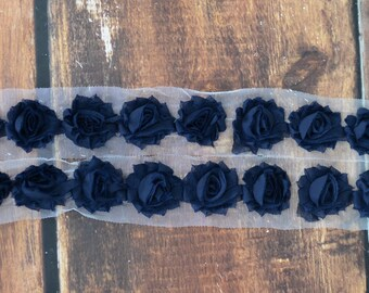 1.5 inch Mini Shabby Flower Trim by the Yard, Flowers for Infant Headbands, Shabby Flowers by the yard, 1/2 yard or 2 flowers, Navy Blue