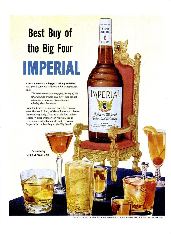 1954 Imperial Whisky Licor Anuncio Ad Poster Print Alcohol Bar # Muebles Para Guardar Whisky