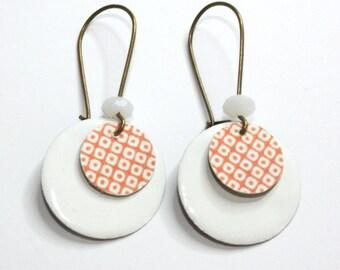 Earrings Japanese polka dot print