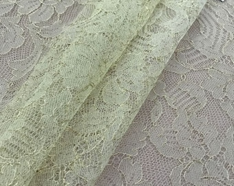 Yellowish with gold thread lace, Solstiss lace fabric, Both side scalloped, Chantilly lace, Wedding lace, K00468