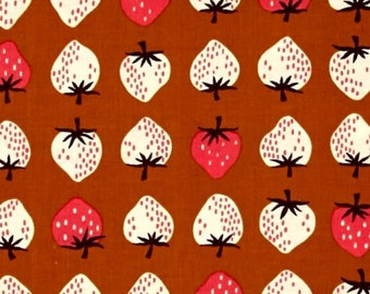 Strawberries Yours Truly Strawberry Gold Cotton + Steel Cotton Fabric Yours Truly collection by Kimberly for Cotton and Steel Fabrics