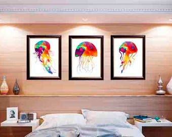 Jellyfish poster, jellyfish photo, watercolor jellyfish, colorful jellyfish, jellyfish photograph, jellyfish wall art, jellyfish print