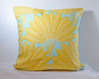 Cushion range 40 x 40 cm or 50 x 30 exotic / tropical yellow and taupe - Christmas Decor-gift personalized - initial - last name