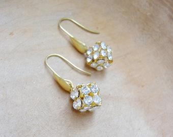 Diamond Cube Earrings - Rhinestone and Brass