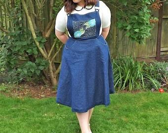 Dungaree Dress, Pinafore Dress, Denim Dress, Circle Skirt, Floral Dress, Vintage Style, Knee Length Skirt, Full Circle Skirt, Pocket Dress