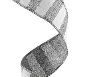 1.5 Inch Grey White Horizontal Stripe Ribbon RX9148R7, Deco Mesh Supplies