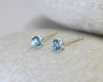 Tiny Blue Zircon Earrings with Sterling Silver Posts, second hole blue stud earrings