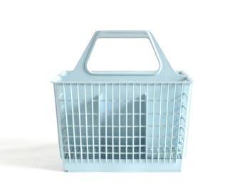 Flatware Caddy GE Dishwasher Silverware Holder Kitchen Utensil Organizer Light Blue Plastic Basket