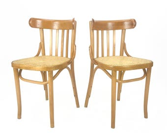 Vintage Pair Of Romanian Maple Bentwood U0026 Cane Side Chairs