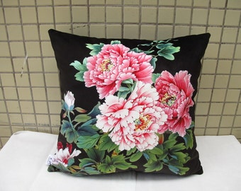 Elegant high quality velvet fabric cushion cover/pillowcase pink peony black background design on both sides