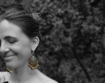Ethnic beaded earrings black and gold