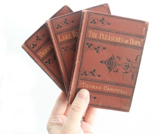 Antique Poetry Books, Collection of 3 - Hard Cover Vest Pocket Series, Short Stories, Copyright 1876 & 1877