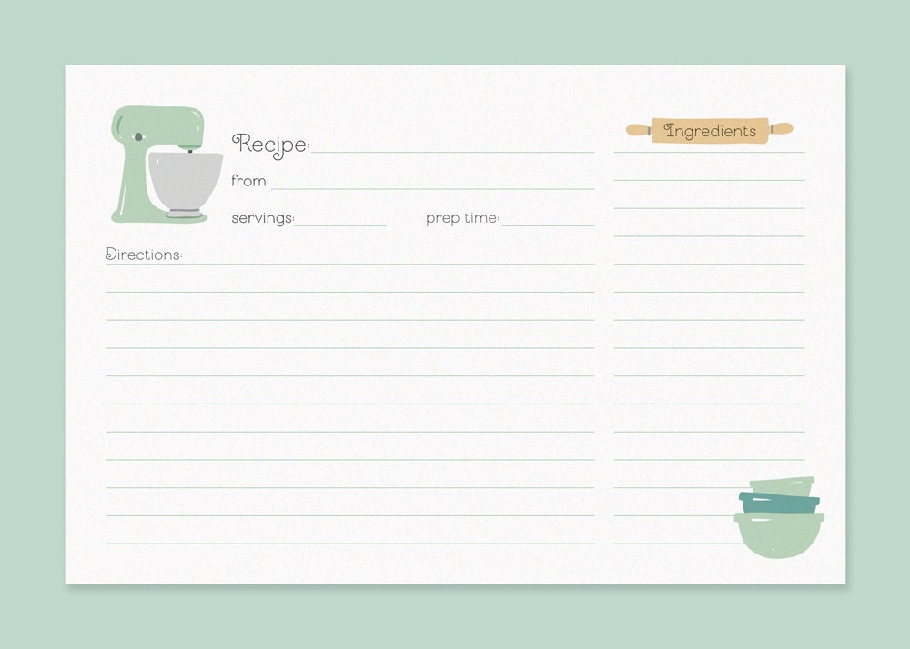 Cute Recipe Cards Vintage Mixer Recipe Card Recipe Card With