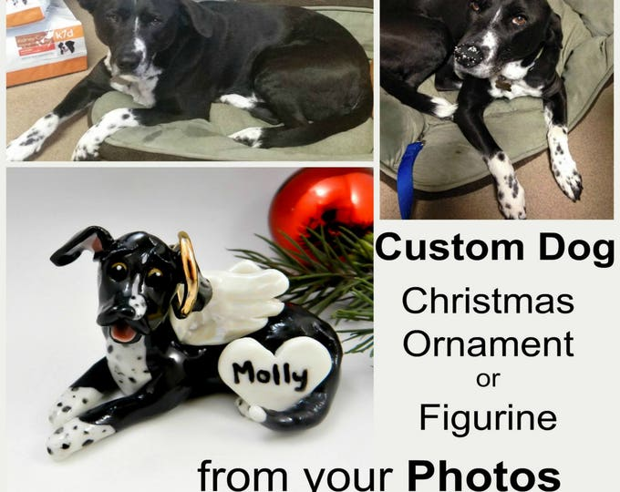 Featured listing image: Custom from Photos Dog Pet Christmas Ornament Figurine Porcelain Clay