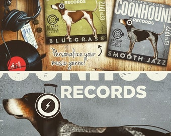 Redtick or Bluetick Coonhound dog records album artwork on gallery wrapped canvas by stephen fowler