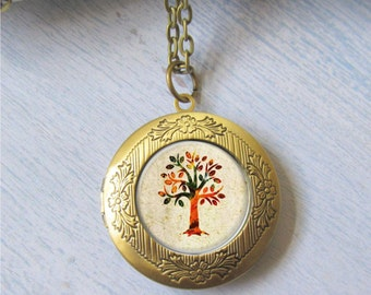Photo Locket, Autumn Tree Necklace, Tree Locket