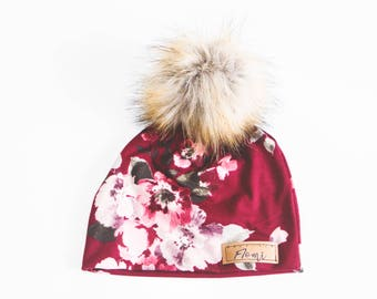 Hat - Burgundy with flowers - with or without pompom - baby - children - adult