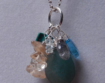 "Healing Crystals ""ZEN"" Serling Silver and Gemstones Necklace"